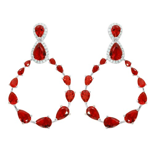 Wholesale Sterling Silver 925 Rhodium Plated Red and Clear Teardrop with Open Hanging Graduated CZ Earrings - GME00104-RED