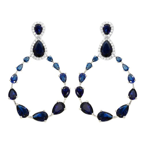 Wholesale Sterling Silver 925 Rhodium Plated Blue and Clear Teardrop with Open Hanging Graduated CZ Earrings - GME00104-BLU