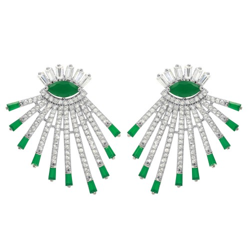 Wholesale Sterling Silver 925 Rhodium Plated Clear and Green CZ Drop Earrings - GME00105RH-GREEN