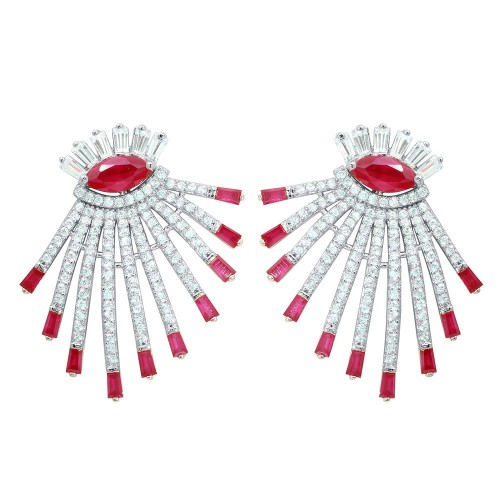 Wholesale Sterling Silver 925 Rhodium Plated Clear and Red CZ Drop Earrings - GME00105RH-RED