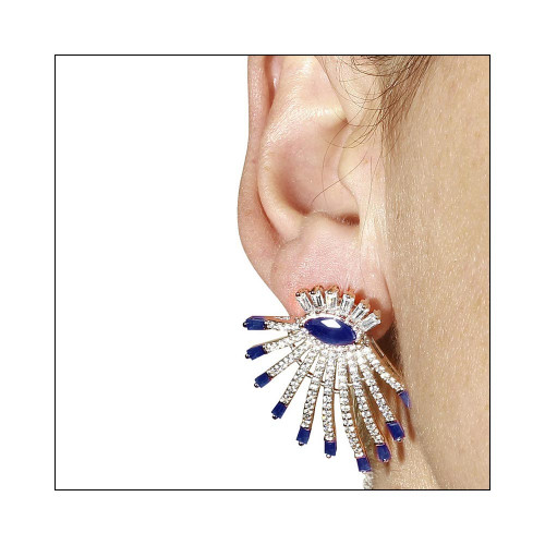 Wholesale Sterling Silver 925 Rhodium Plated Clear and Blue CZ Drop Earrings - GME00105RH-BLU
