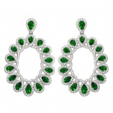 Wholesale Sterling Silver 925 Rhodium Plated Open Oval Green and Clear CZ Hanging Earrings - GME00106-GREEN