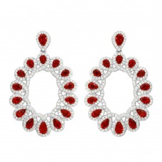 Wholesale Sterling Silver 925 Rhodium Plated Open Oval Red and Clear CZ Hanging Earrings - GME00106-RED