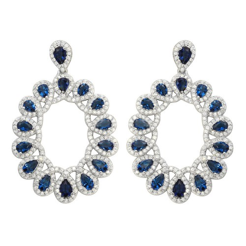 Wholesale Sterling Silver 925 Rhodium Plated Open Oval Blue and Clear CZ Hanging Earrings - GME00106-BLU