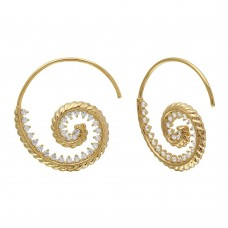 Wholesale Sterling Silver 925 Gold Plated Spiral Design CZ Earrings - GME00108GP