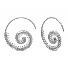 Wholesale Sterling Silver 925 Rhodium Plated Spiral Design CZ Earrings - GME00108RH