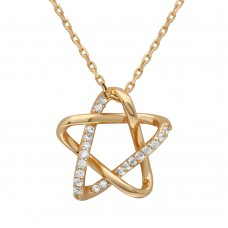 Wholesale Sterling Silver 925 Gold Plated Intertwined Star Pendant with Chain - GMN00005GP