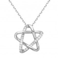 Wholesale Sterling Silver 925 Rhodium Plated Intertwined Star Pendant with Chain - GMN00005