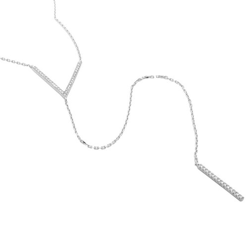 Wholesale Sterling Silver 925 Rhodium Plated V CZ Necklace with Drop CZ Bar - GMN00006RH