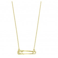 Wholesale Sterling Silver 925 Gold Plated Small Gold Plated Paperclip Pendant Necklace with CZ - GMN00008GP