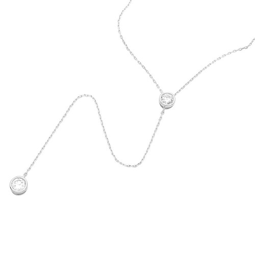 Wholesale Sterling Silver 925 Rhodium Plated Double CZ Drop Necklace - GMN00010