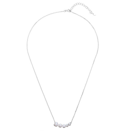 Wholesale Sterling Silver 925 Rhodium Plated Graduated Fresh Water Pearl Necklace - GMN00011RH