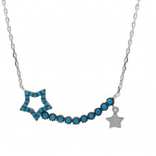 Wholesale Sterling Silver 925 Rhodium Plated Turquoise Open Star Necklace - GMN00013RH