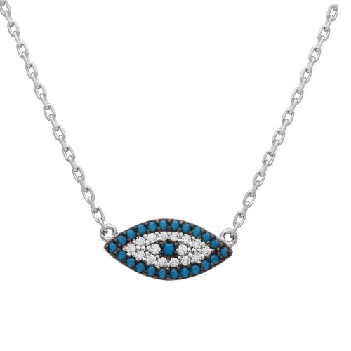 Wholesale Sterling Silver 925 Rhodium Plated Turquoise and CZ Evil Eye Necklace - GMN00014RH-T