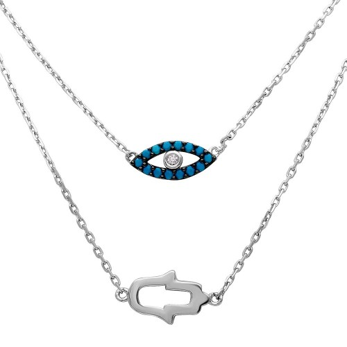 Wholesale Sterling Silver 925 Rhodium Plated Hamsa Hand and Evil Eye Necklace - GMN00015RH