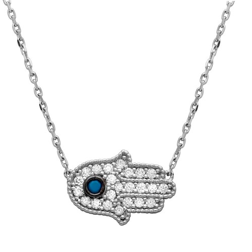 Wholesale Sterling Silver 925 Rhodium Plated CZ Encrusted Hamsa Necklace with Turquoise Stone - GMN00016RH