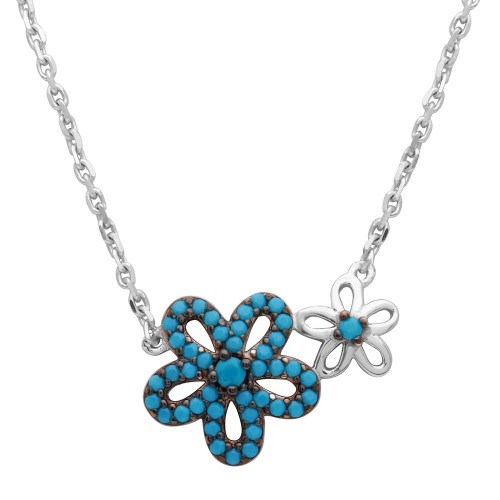 Wholesale Sterling Silver 925 Rhodium Plated Double Flower Necklace with Turquoise Stones - GMN00017BLK-T