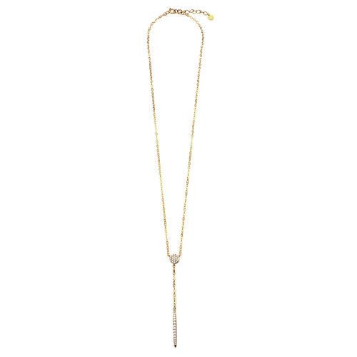 Wholesale Sterling Silver 925 Gold Plated CZ Drop Bar Necklace - GMN00019GP