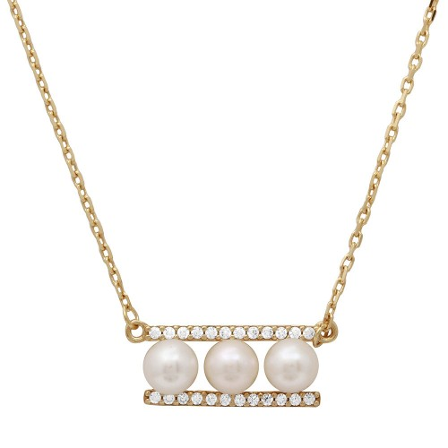 Wholesale Sterling Silver 925 Gold Plated 3 Fresh Water Pearl On 2 CZ Bar Necklace - GMN00020GP