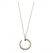 Wholesale Sterling Silver 925 Rhodium Plated Round Nail Pendant Necklace - GMN00021RH