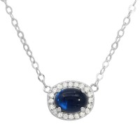 Wholesale Sterling Silver 925 Rhodium Plated Oval Halo CZ Pendant Blue Center Stone Necklace - GMN00022-SEP