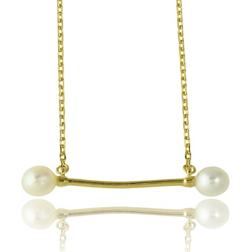 Wholesale Sterling Silver 925 Gold Plated Fresh Water Pearl Bar Necklace - GMN00024GP
