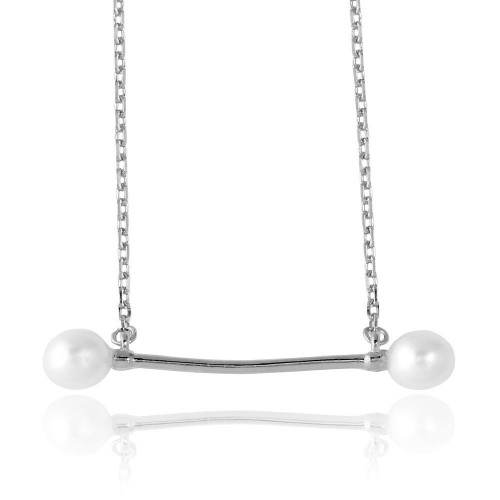Wholesale Sterling Silver 925 Rhodium Plated Fresh Water Pearl Bar Necklace - GMN00024RH