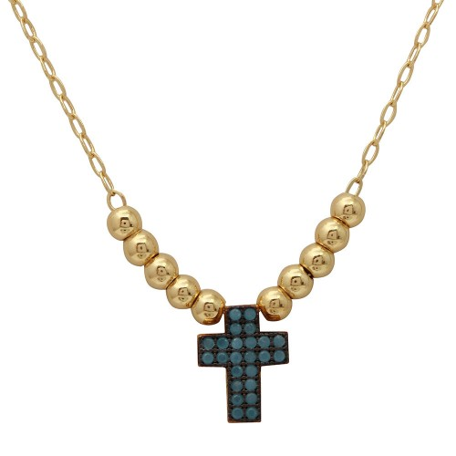 Wholesale Sterling Silver 925 Gold Plated Beaded Necklace with Turquoise Stone Cross - GMN00025GB