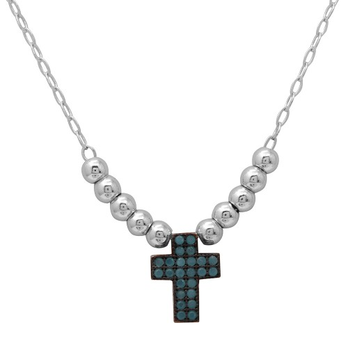 Wholesale Sterling Silver 925 Rhodium Plated Beaded Necklace with Turquoise Stone Cross - GMN00025RB