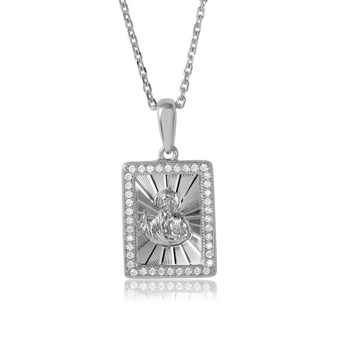 Wholesale Sterling Silver 925 Rhodium Plated Rectangle CZ Jesus Medallion with Chain - GMP00001RH