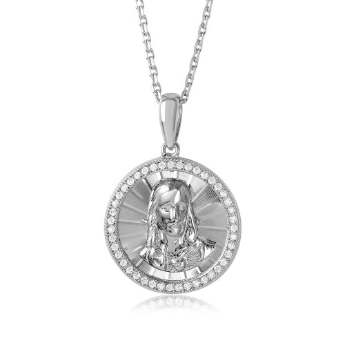 Wholesale Sterling Silver 925 Rhodium Plated Diamond Cut CZ Jesus Medallion with Chain - GMP00002RH