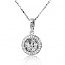 Sterling Silver Rhodium Plated Religious Medallion Necklace - GMP00003RH