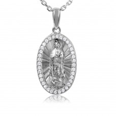 Sterling Silver Rhodium Plated Oval CZ Frame Medallion With Chain - GMP00005RH