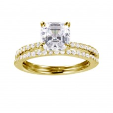 Wholesale Sterling Silver 925 Gold Plated Stackable CZ Bridal Ring - GMR00080GP