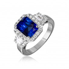 Sterling Silver Rhodium Plated Sapphire Emerald Cut Center CZ Stone Ring - GMR00101S