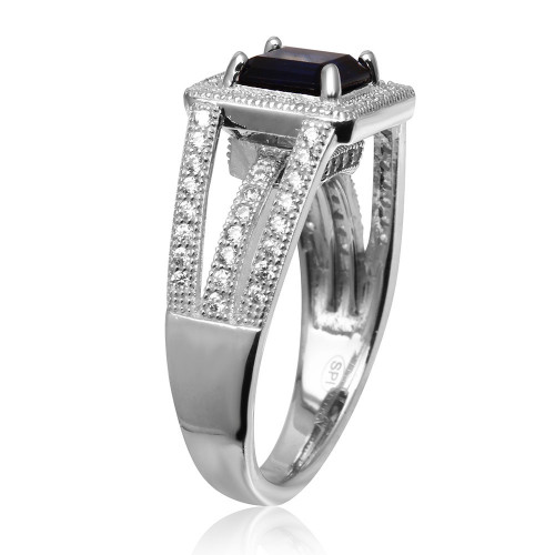 Wholesale Sterling Silver 925 Rhodium Plated Sapphire Square Halo with Micro Pave CZ Ring - GMR00103S