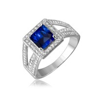 Sterling Silver Rhodium Plated Sapphire Square Halo with Micro Pave CZ Ring - GMR00103S