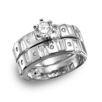 Wholesale Sterling Silver 925 Rhodium Plated Baguette CZ Band Engagement Ring - GMR00110
