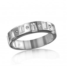 Wholesale Mens Sterling Silver 925 Rhodium Plated Matching Baguette CZ Band - GMR00111