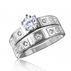 Sterling Silver Rhodium Plated Square Design CZ Finish Wedding Ring - GMR00112