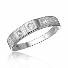 Wholesale Sterling Silver 925 Rhodium Plated Square Design CZ Finish Wedding Men's Ring - GMR00113