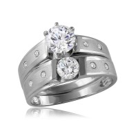 Wholesale Sterling Silver 925 Rhodium Plated Matte Finish Wedding Ring - GMR00114