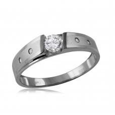 Wholesale Sterling Silver 925 Matte Finish Shank CZ Matching Wedding Mens Ring - GMR00115