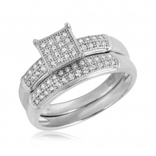 Sterling Silver Rhodium Plated Square Design Micro Pave Bridal Ring - GMR00116RH