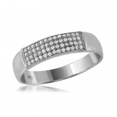 Mens Sterling Silver Rhodium Plated Micro Pave Band - GMR00117RH