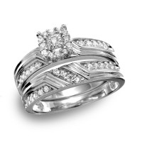 Wholesale Sterling Silver 925 Rhodium Plated Square Halo CZ Engagement Ring - GMR00120