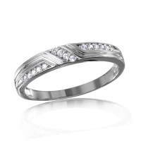 Wholesale Sterling Silver 925 Rhodium Plated CZ Design Ring For Men with Matching Ring For Women - GMR00121