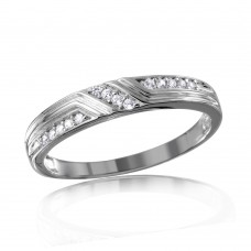 Mens Sterling Silver Rhodium Plated CZ Design Ring- GMR00121RH