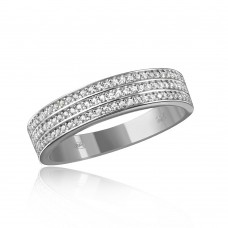 Mens Sterling Silver Rhodium Plated Muiti Row Clear CZ Band - GMR00123RH