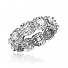 Sterling Silver Rhodium Plated Eternity Band with Micro Pave Square and Round CZ - GMR00126RH